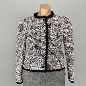 Ann Taylor Boucle Button Front Fringe Blazer XL